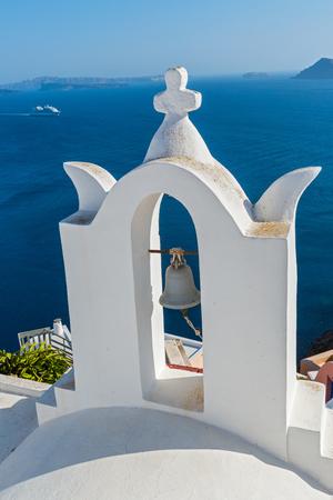 church bell: Church bell on an Orthodox Church tower, Santorini Greece