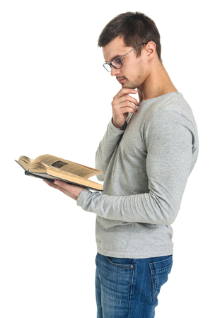 Man reading book, side view, isolated on white
