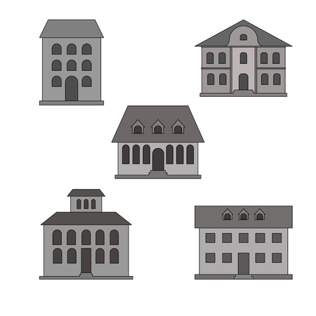 various buildings. vector illustration on white background Vectores