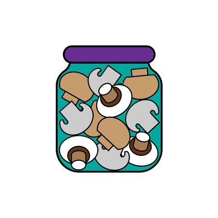 mushrooms in a jar. vector illustration