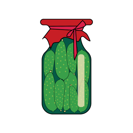 cucumbers in the bank. vector illustration