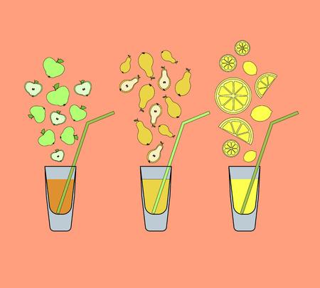 fruit juices set. colorful vector illustration