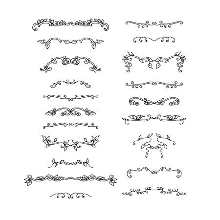 Insieme di elementi di design disegnati a mano. illustrazione vettoriale Vettoriali