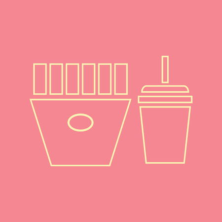 french fries and soda water. fast food icon .vector illustration on pink background Stock Illustratie