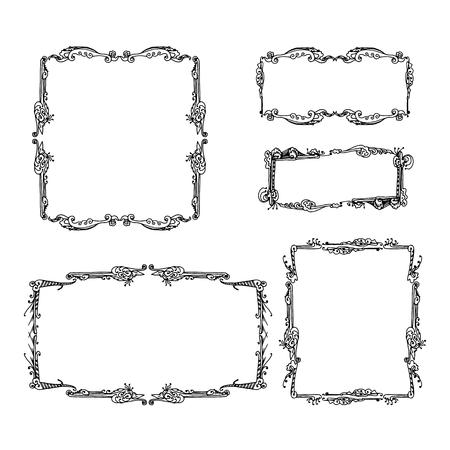 Set di cornici decorative d'epoca. grafico disegnato a mano illustrazione vettoriale su sfondo bianco Vettoriali