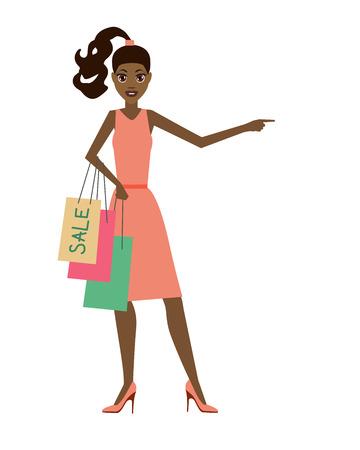 girl on shopping. vector illustration Vektorové ilustrace