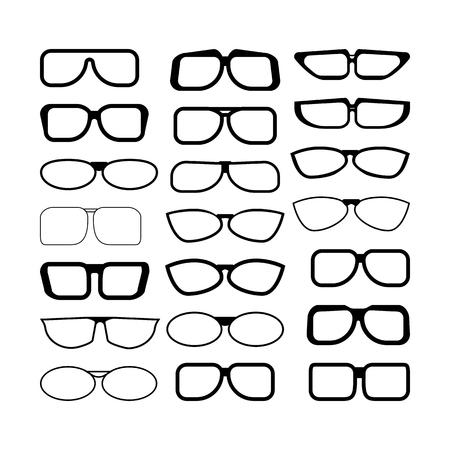 set of glasses. black and white vector illustration