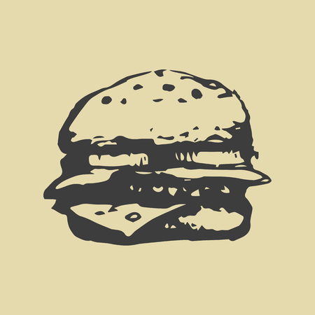 fast food. hamburger. hand-drawn vector illustration