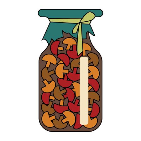 mushrooms in a jar. vector illustration