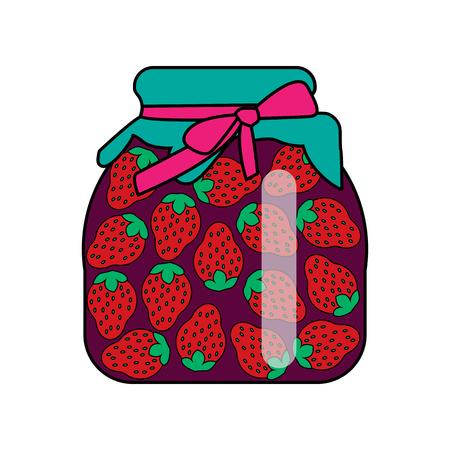 Strawberry jam. vector illustration