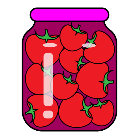 tomatoes in a jar. vector illustration