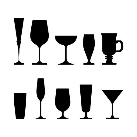 zestaw kieliszków do wina. ilustracja wektorowa na białym tle