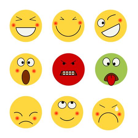 Conjunto de emociones de emoticonos. ilustración vectorial