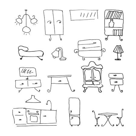 insieme di mobili. illustrazione vettoriale disegnata a mano su sfondo bianco Vettoriali