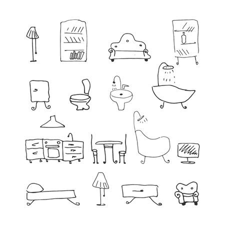 insieme di mobili. illustrazione vettoriale disegnata a mano su sfondo bianco