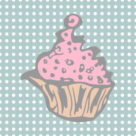 Cake with cream. vector illustration in pastel colors Vettoriali
