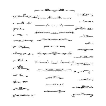 set of calligraphic elements for design. hand-drawn vector illustration on white background Çizim