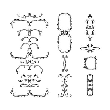 set of ecorative elements. hand-drawn vector illustration on white background