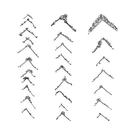 set of decorative corners. hand-drawn vector illustration on white background