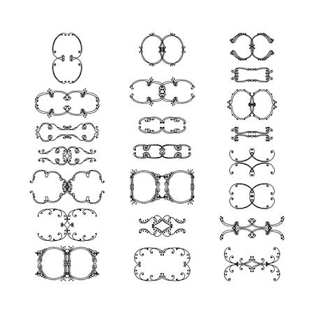 set of decorative elements. hand-drawn vector illustration on white background