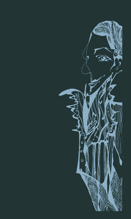man abstract graphic composition. hand-drawn vector
