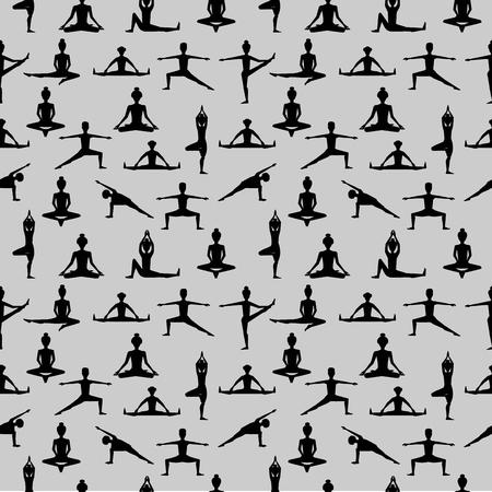 modèle sans couture de yoga. illustration vectorielle Vecteurs