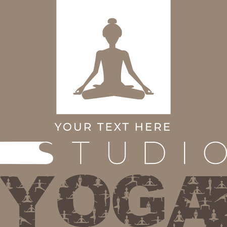 Design template banner, poster for yoga studio. vector illustration
