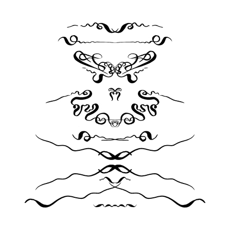 set of decorative hand-drawn elements. vector illustration on white background