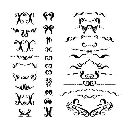 Handgezeichneter Satz dekorativer Elemente. Vektorillustration auf weißem Hintergrund Vektorgrafik