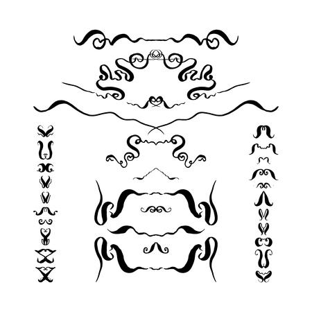 Hand-drawn set of decorative elements. vector illustration on white background