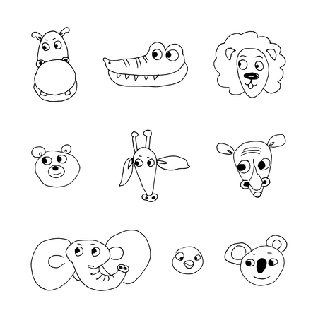 set of cute zoo animals. hand-drawn vector illustration on white background