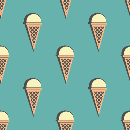 ice cream cone seamless pattern.  color vector illustration
