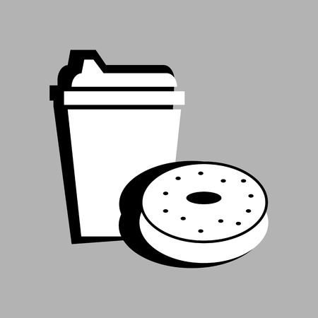 coffee and donut set vector illustration on gray background Ilustrace