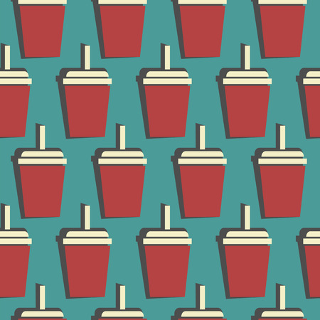 drink cup seamless pattern. colorful vector illustration Illustration