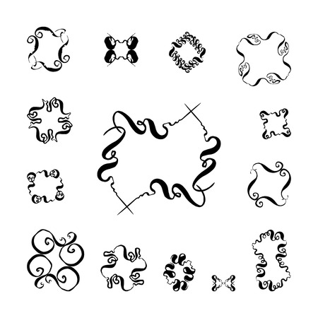 A set of decorative hand-drawn elements. vector illustration on white background