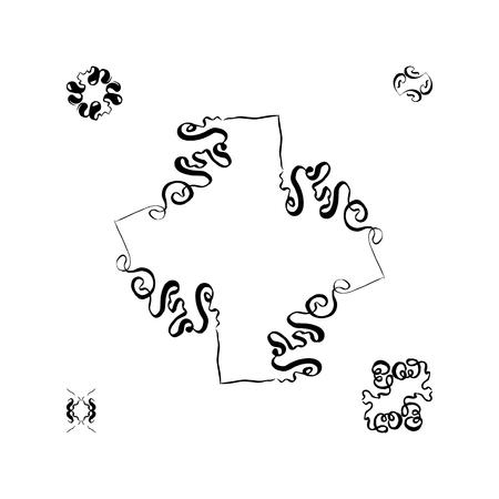A set of decorative hand-drawn elements. vector illustration on white background Banco de Imagens - 124820316