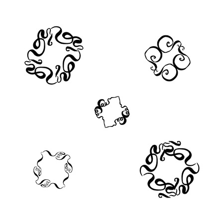 A set of decorative hand-drawn elements. vector illustration on white background Banco de Imagens - 124820317