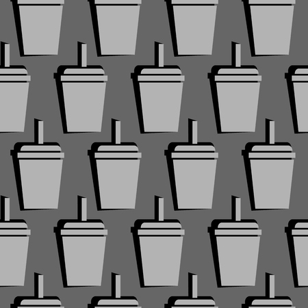 drink cup seamless pattern. vector illustration on gray background Stock Vector - 124798948