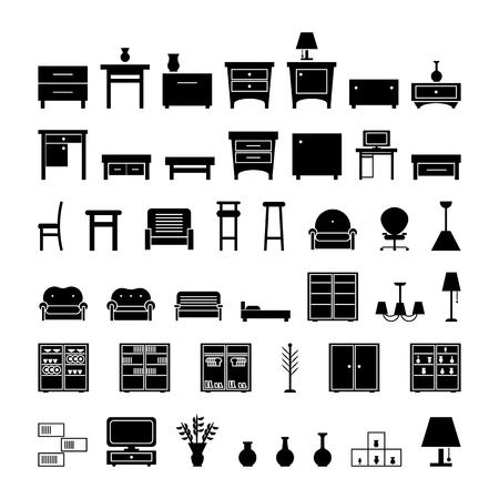 Möbelikonen eingestellt. Vektorillustration auf weißem Hintergrund