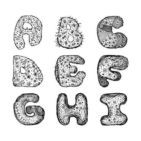 Set of capital letters of the English alphabet A, B, C, D, E, F, G, H, I. hand-drawn vector illustration on white background