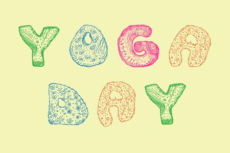 hand-drawn lettering for yoga day. colorful vector illustration Ilustração
