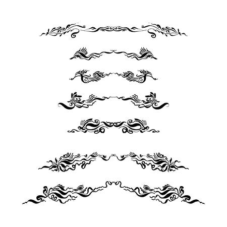 conjunto de separadores de texto decorativos. dibujado a mano con tinta y pincel ilustración vectorial