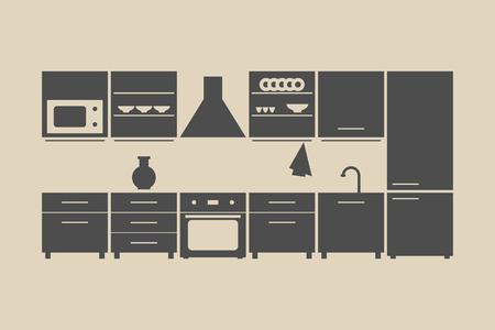 kitchen furniture set. vector illustration on beige background