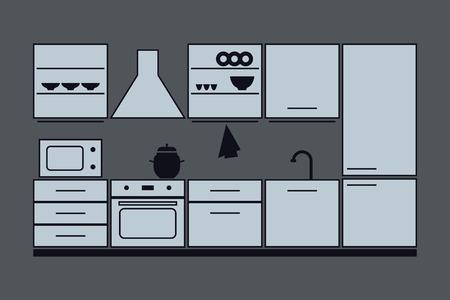 kitchen furniture set. vector illustration on gray background