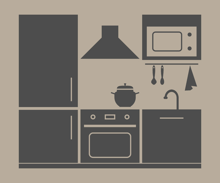 kitchen furniture set. vector illustration on beige background
