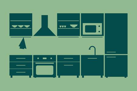 kitchen furniture set. vector illustration on green background Illustration