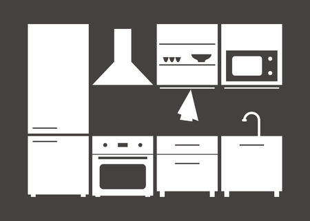 kitchen furniture set. vector illustration on gray background