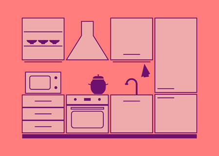 kitchen furniture set. pink vector illustration