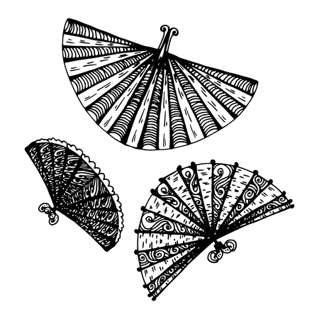 fans set. hand-drawn vector illustration on white background Vettoriali