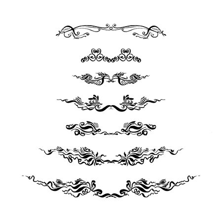 set of decorative text dividers. hand-drawn with ink and brush vector illustration